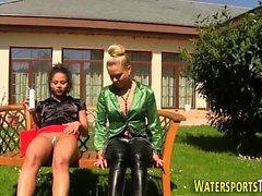 Lesbos pee drench outside