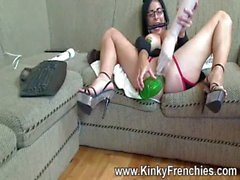 Gagged & a mp_ Squatting on a bottle.. I Squirt!