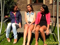 Lesbos pee soak outdoors