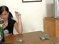 Drunk GF deepthroated gefickt und rauh