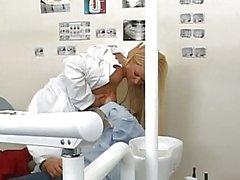 Gorgeous busty blonde teen dentist sucking huge cock