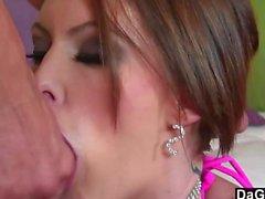 Busty Babe Chokes On Dick