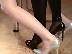 Luxury babes in panties enjoying strap