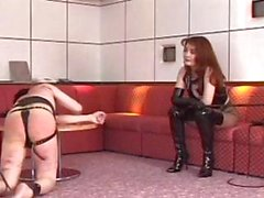Slave gets caught by his mistress and gets punished by her whip