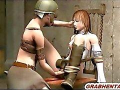 Angekettet 3d Hentai swordwoman wird gefingert ihre Muschi