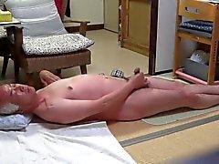 Japanese old man masturbation Good feelings