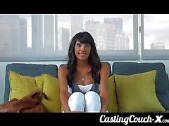Porn casting for skinny brunette