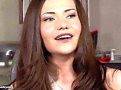 Pretty brunette Subil Arch gets interviewed