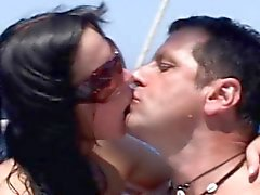 Island blowjob and ass licking with two stunning babes