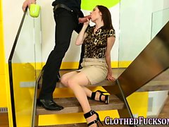 Clothed glam slut spunked