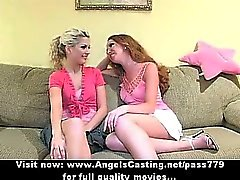 Three wonderful adorable lesbian babes talking and touching