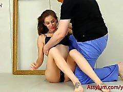 Hermoso arte babe obtiene fucking anal duro y una dura nalgadas