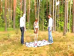 Amateur latvian threesome in the forest