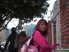 Cute redhead babe gets horny walking