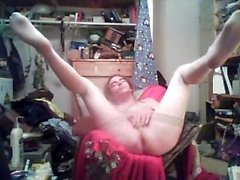 Sissy Bi-sexuellen Crossdresser Tranny Spielt mit schönen Cock