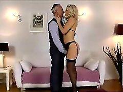 Blonde in stockings sucking older British cock