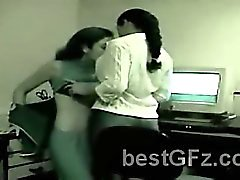 Amateur lesbian got caught pleasing each other in their office