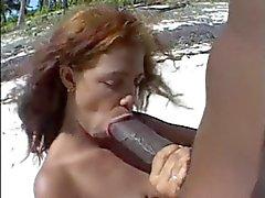 Iso ruskea nännit ja B Ig ruskeat kalu rannalla .