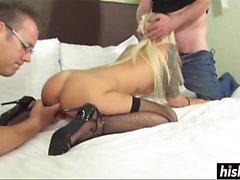 Randi Tango enjoys two hard peckers