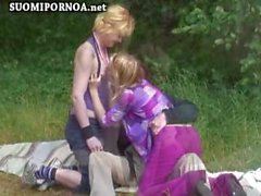 outdoors 3some on public beach finnish suomipornoo finnporn