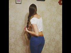 Super Long Haired brunett, långt hår, hår