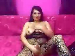 Pretty Shemale Jerking Her Cock