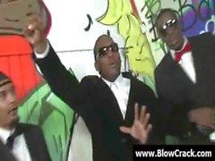 Interracial BlowBang - Facial cumshot in interracial hardcore fuck 01