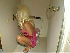 Blonde Transvestite Analed In Toilet