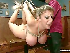 Big titted Curvy milf Sara Jay in bondage