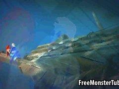 3D von Ariel wird von Ursula Wasser hart durchgefickt