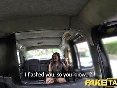 Taxi falsa Señora en ropa interior de color rosa se creampied