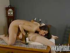 Paige Turnah makes horny lesbian slut cum in wine bottle