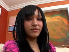 Black-haired beauty gave a blow and got rammed
