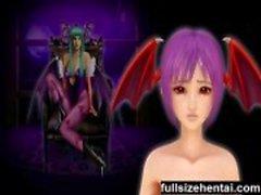 3d vampyr flicka får bröstvårta kittlade