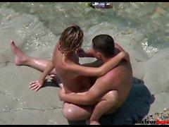 Wife riding cock on voyeur beach sex
