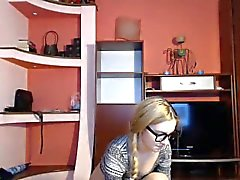 Hot blonde teen with glasses peels off her clothes and plea