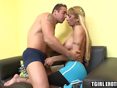 Smoking hot tranny cheerleader Celeste gets banged roughly