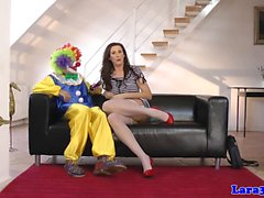 British milf doggystyled by clown on floor