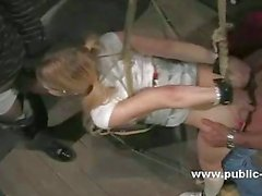 Blonde victim tied and abused by gang