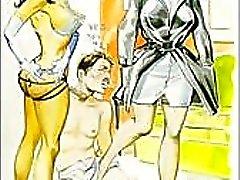 Vintage paha seksuaalinen femdom koominen