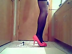 Chastised crossdresser playing toys