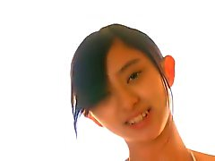 Thin, skinny Asian Girl in White Bikini