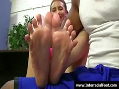 Foot fetish - Sexy teen babes fucking cock with their feet 07