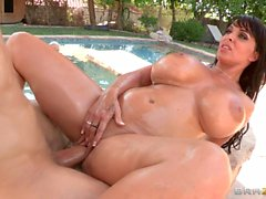 Big breasted mom Holly Halston gets her wet ass banged