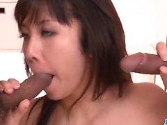Perfect trio sensations for horny Asian Hina Tokisaka