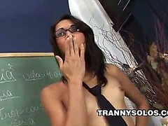 Renatinha - Horny Shemale Teacher Jerking Off After Class