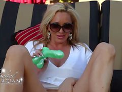 Rachel Aziani outdoors masturbating her hairy pussy