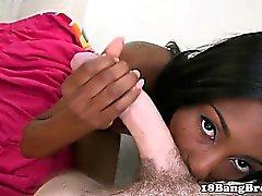 Ebony 18yo sucking and fucking white meat