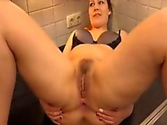 Chubby girl takes it in the ass on the kitchen counter