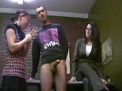 Twisted Librarian Orders Studnt to Milk a Guy's Cock WF